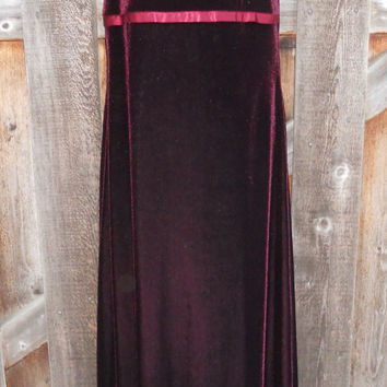 Vintage 90s Red Burgundy Velvet Grunge Long Dress My Michelle Brand Size Medium