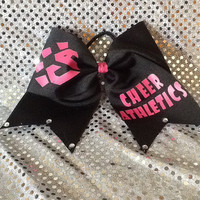 Cheer athletics pink and black cheerleading bow