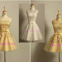Handmade short homecoming dress,  charming gold lace bowknot  homecoming dress/cocktail dress/party dress/short prom dress 8375