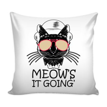 Funny Cat Graphic Pillow Cover Meows It Going