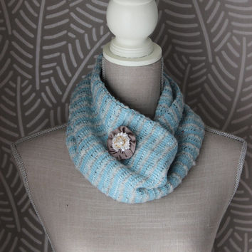 Winter neck scarf in light blue,Flower neck scarf, Womens neck scarf,gift for her,women shawl