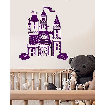 Vinyl Wall Decal Princess Castle Fairy Tale Little Girl's Room Stickers (3468ig)