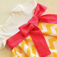 Yellow Chevron Onesuit Dress with Hot Pink by CharlieandMills