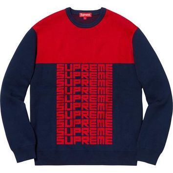 SUPREME Logo Repeat Sweater Navy Red - Navy/Red