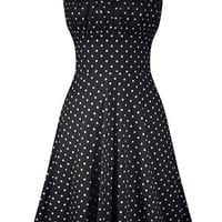 Women's Polka Dot Swing Dress - Black
