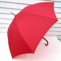 Vintage Red Umbrella, Rain Umbrella, Wood Cane Handle, Aqua Sheen Rain Gear, Parasol