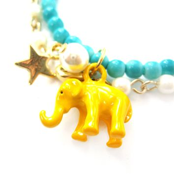 Elephant Charm Animal Stretchy Bracelet in Bright Yellow on Turquoise
