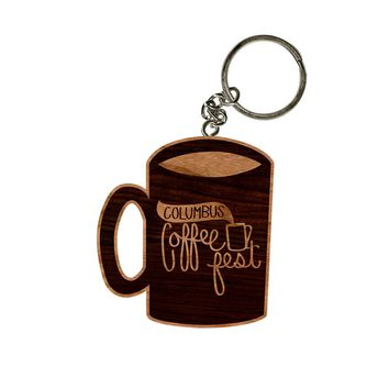 Coffee Fest Mug Wooden Keychain