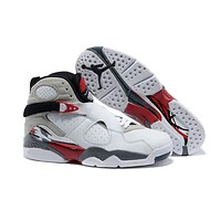 Air Jordan 8 Retro AJ8 VIII White/RED/Black Basketball Shoe US8-13