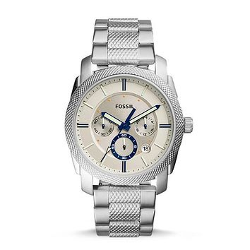 Machine Chronograph Stainless Steel Watch, Silver | FOSSIL