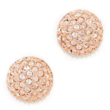 Pave Crystal Dome Button Clip On Earrings