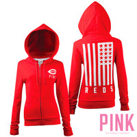 Cincinnati Reds Victoria's Secret PINK® Full Zip Flag Hood - MLB.com Shop