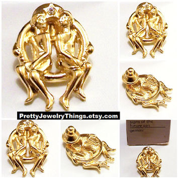 Avon Gemini Zodiac Horoscope Tac Pin Brooch Gold Tone Vintage 1990 Sign Of The Future Twins Element Of Air
