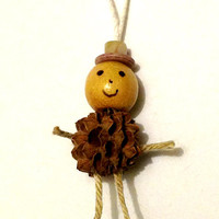 Miniature Ornament - Small Pine Cone - Wood bead - Rope - Christmas Ornament - Cute Ornament Doll