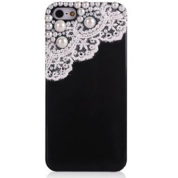 eFuture(TM) Hand Made Lace and Pearl Black Hard Case Cover fit for the new Iphone5 5G +eFuture's nice Keyring