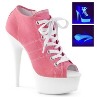 Pink Platform Canvas Sneakers 6 Inch Heels- Stripper Shoes