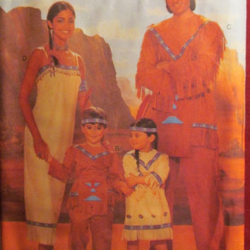SALE Uncut Butterick Sewing Pattern, 4171! All Sizes/Men's/Women's/Children's/Girls/Boys/Kids Native American Indian Halloween Costume