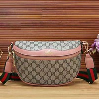 GUCCI New Fashion More Letter Leather Women Men Stripe Waist Bag Shoulder Bag Pink