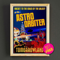 Vintage Disneyland Tomorrowland Astro Orbiter Attraction Poster Reprint Home Wall Decor Gift Linen Print - Buy 2 Get 1 FREE - 371s2g
