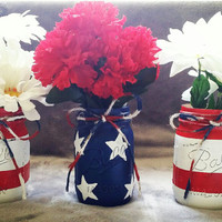 Patriotic American Red, White, and Blue mason jars for 4th of July, Labor day, memorial day, etc