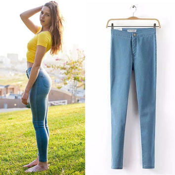 Hot Sale Fashion Pencil Jeans Woman Casual Denim Stretch Skinny Jeans Vintage High Waist Jeans Women Black Blue Plus Size