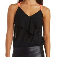 Black Color Block Strap Ruffle Crop Top by Charlotte Russe