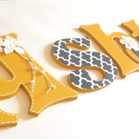 Personalized Wood Letters - Hand Painted White, Gray and Yellow Floral Design and Moroccan Pattern, Flower Embellishments