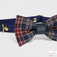 Cat Collar, Breakaway Collar, Bow Tie Collar, Dog Collar, Tartan Blue Burgundy