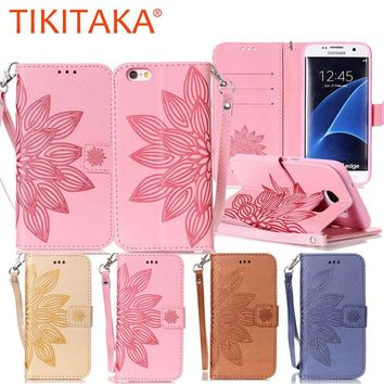 Fashion 3D Embossed Flower Leather Flip For iphone 7 6 6s Plus SE 5 5s Case For Samsung Galaxy S7 S6 edge S5 Wallet Cover Shell