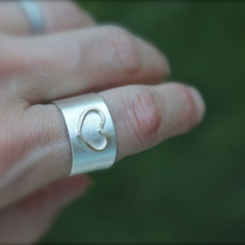 Silver Cigar Band with Gold Heart Ring. sterling silver band. Minimalist. Modern. Cigar band. Wide ring. Heart.