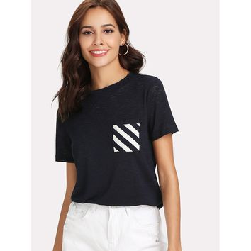 Striped Pocket Patched Paper Thin Tee