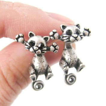 Unique Kitty Cat Shaped Two Part Dangle Earrings in Silver | DOTOLY