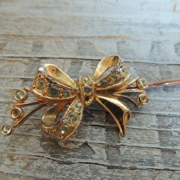 Bow Bobby Pin / Bow Hair Jewelry / Bow Hair Accessory / Hair Jewelry / OOAK Hair Accessory / Chic Hair Jewelry / Holiday Accessory