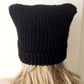 Knit Cat Hat, Cat Ear Hat, Black Cat Beanie ,Chunky Cat Hat, Winter Cat Hat