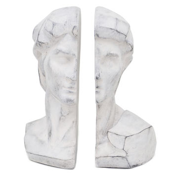 Pair of Classical Bust Bookends, Gray, Bookends