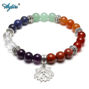 Ayliss 7 Chakras Yoga Meditation Healing Balancing Round Stone Beads Stretch Bracelet with Tree of Life/Lotus/OM Symbol Charm