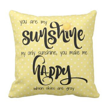 You are my sunshine; yellow/black, tiny polka dots throw pillow