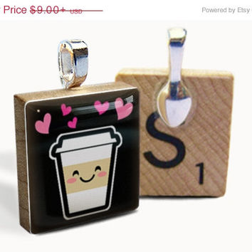 SALE PRICE - Cute Coffee : pendant jewelry from a Scrabble tile. Necklace Scrabble piece. Home Studio jewelry gift present.