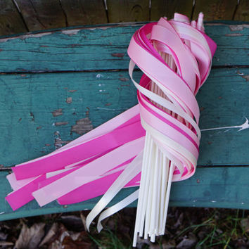 150 Ribbon Wands with Satin Ribbon / Wedding Ceremony Wands / 3-Strand Ribbon Wands / Satin Ribbon Wands / Wedding Wands / Send Off Wands