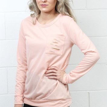 Sparkle in Your Distressed Pocket Sweatshirt {Peach}