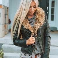 Ryder Faux Leather & Fur Collar Jacket