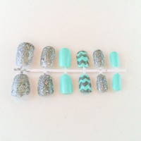 mint fake nails chevron false nails sparkle acrylic nails glitter artificial nails