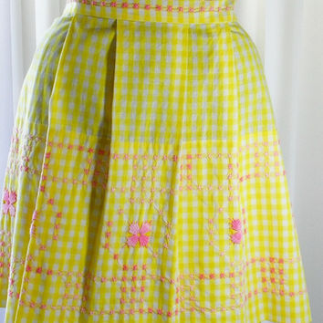 Vintage Apron Cross Stitch Pink on Yellow Apron Half Pleated Front Pristine Condition on Etsy