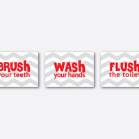 Wall Art - Set of Three  Prints - Bathroom Art Trio - Wash Brush Flush - Your choice of chevron background - Your choice of size