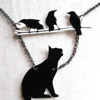 Black Cat and Birds Necklace Silhouette Pet Lovers Halloween
