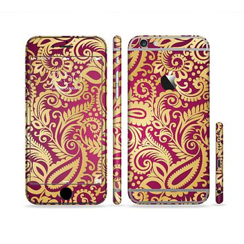 The Gold and Red Paisley Pattern Sectioned Skin Series for the Apple iPhone 6 Plus