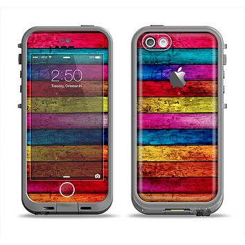 The Neon Color Wood Planks Apple iPhone 5c LifeProof Fre Case Skin Set
