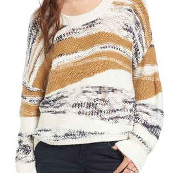 Sun & Shadow Tattered Knit High/Low Pullover | Nordstrom