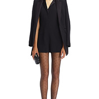 DVF Seduction Lace Panel Tuxedo Crepe Romper