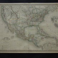 """USA antique map of United States LARGE Beautiful 1864 original dated poster of the US Colona state Vintage maps United States 23x31"""" big"""